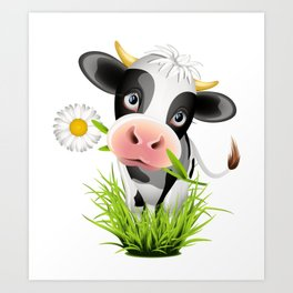 Cute Holstein cow in grass Art Print