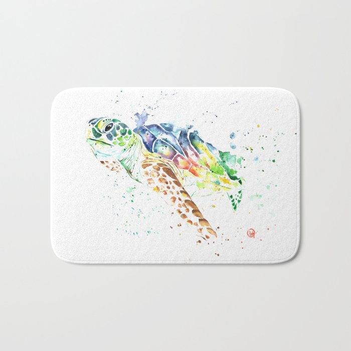 Sea Turtle Colorful Watercolor Painting Bath Mat