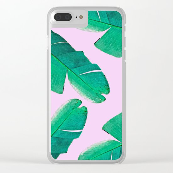 Banana Palm, muck and teal Clear iPhone Case