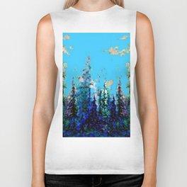 Scenic Blue-Purple Mountain Trees Landscape Biker Tank