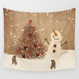 Primitive Country Christmas Tree Wall Tapestry