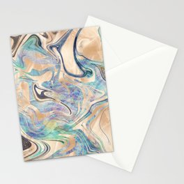 Liquid Bronze Mermaid Sea Marble Stationery Cards