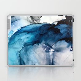 White Sand Blue Sea - Alcohol Ink Painting Laptop & iPad Skin
