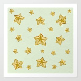 Carambola exotic watercolor pattern Art Print
