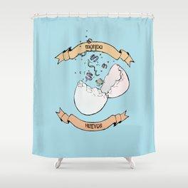 Manda Huevos Shower Curtain