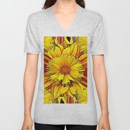 RED & YELLOW  FLOWER DECO MODERN ART Unisex V-Neck