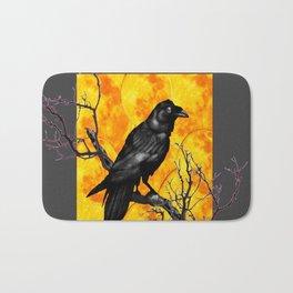 Grey & Gold Pattern  Crow Wildlife Art Bath Mat