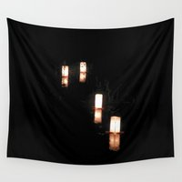 lanterns Wall Tapestries featuring Lanterns of Healing (Japan) by Julie Maxwell