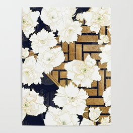 Navy Herringbone with Peony Flowers Print Poster