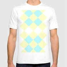 Checkers Yellow/Blue SMALL White Mens Fitted Tee