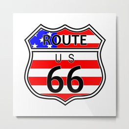 Route 66 Highway Sign With Flag Metal Print