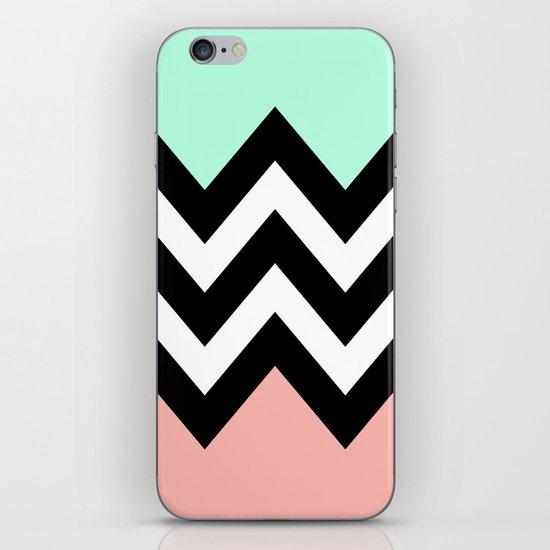 DOUBLE COLORBLOCK CHEVRON {MINT/CORAL/BLACK} iPhone & iPod Skin