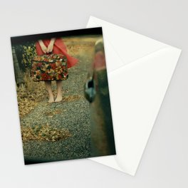 Girl with Suitcase Through Rearview Mirror Stationery Cards