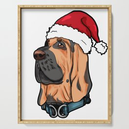 Bloodhound Dog Christmas Hat Present Serving Tray