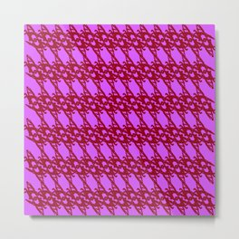 Braided diagonal pattern of wire and pink arrows on a violet background. Metal Print