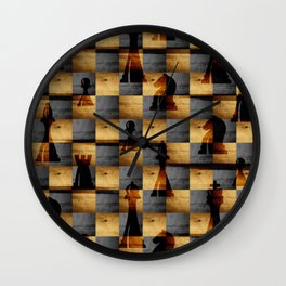Wooden Chessboard and Chess Pieces  pattern Wall Clock