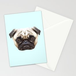 Pug // Pastel Blue Stationery Cards