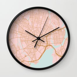 New Haven map, Connecticut Wall Clock