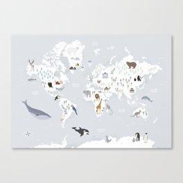 Animal Map of the world Leinwanddruck