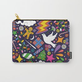 60s 70s psychedelic Modern Christmas Confetti Pattern Carry-All Pouch