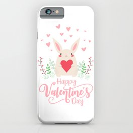 Cute and Adorable Valentine Bunny with a Heart iPhone Case