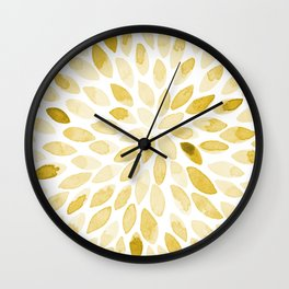 Watercolor brush strokes - yellow Wall Clock