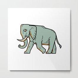 African Elephant Walking Mono Line Art Metal Print