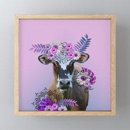 Cow Flower Artwork - Monstera Daisies Blossoms Leaves Framed Mini Art Print