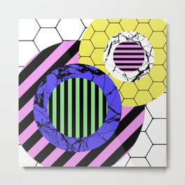 Stripes? Marble? Hex? - Random, eclectic, geometric, abstract design Metal Print