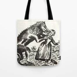 Werewolf attack Medieval etching Tote Bag