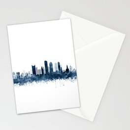 Boston City Skyline Blue Watercolor by zouzounioart Stationery Cards