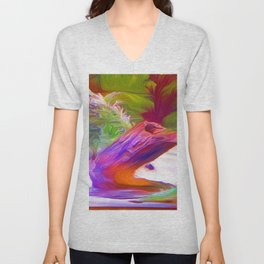 Underwater Stump Oil Painting Unisex V-Neck