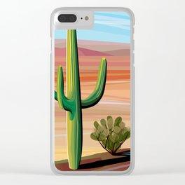 Saguaro Cactus in Desert Clear iPhone Case