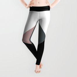 Modern dusty pink gray black white geometrical Leggings