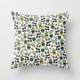 Panda Print, Succulents, Greenery and Cute Pandas, Flowers and Cactus Throw Pillow