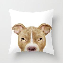 Pit Bull light Brown 2,Dog illustration original painting print Throw Pillow