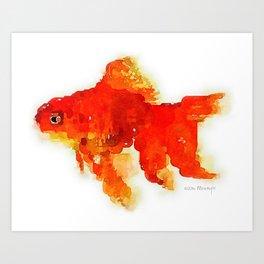 Sleeping Goldfish Watercolor Painting Art Print