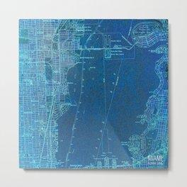 Miami Florida vintage map year 1950, blue usa maps Metal Print