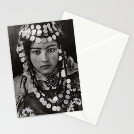 Ouled Naïl tribe Algerian Girl, 1905 with tattoos and traditional jewelry black and white photograph Stationery Cards