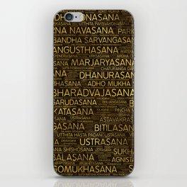 Gold Yoga Asanas / Poses Sanskrit Word Art iPhone Skin