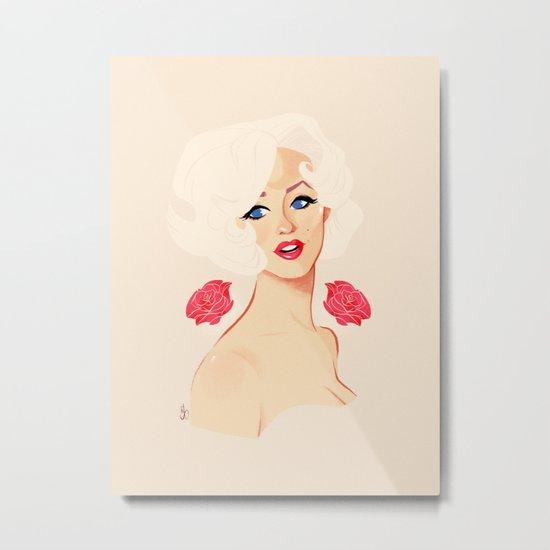Marilyn + Roses Metal Print