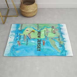 USA New Jersey State Travel Poster Map with Touristic Highlights Rug