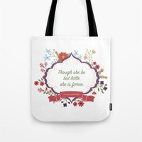though she be but little Tote Bags featuring Though she be but little... by Girl Friday Paper