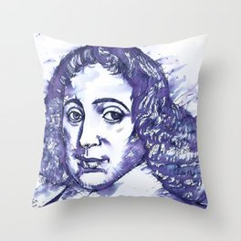 BARUCH SPINOZA watercolor and ink portrait Throw Pillow