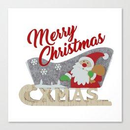Santa Claus Sled white Canvas Print
