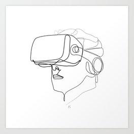 """Gaming Collection "" - Man Wearing Virtual Reality Goggles Kunstdrucke"