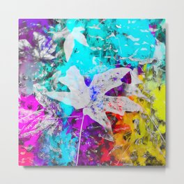 maple leaf with blue purple pink yellow painting abstract background Metal Print