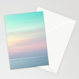Pastel retro Malibu VII calm ocean & sky Stationery Cards