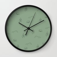 hiking Wall Clocks featuring Hiking by The Old One Two