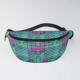 Turquoise green plaid Fanny Pack